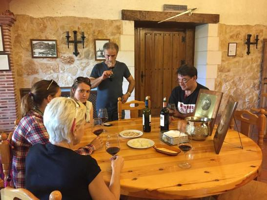 The Winebus group tasting the wines at Bodegas Ismael Arroyo